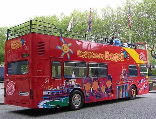 El autobus turistíco de Liverpool