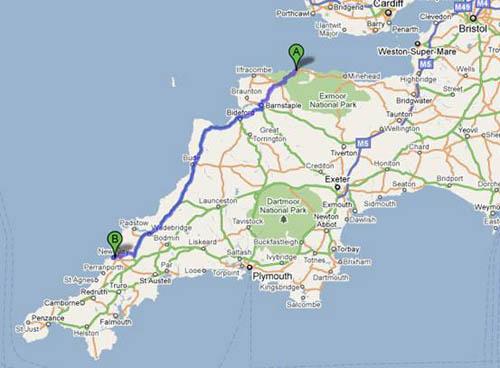 De Lynmouth a Newquay, viaje en coche